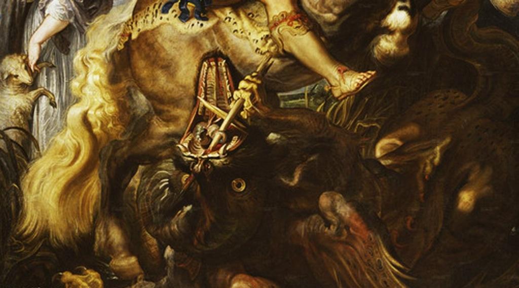 Питер Пауль Рубенс. «Святой Георгий, поражающий дракона». 1606-1607. Прадо, Мадрид. Фрагмент, в котором воедино сведены два противоположных состояния: МИР МЕЧТЫ и МИР БОРЬБЫ...