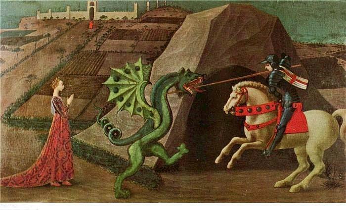 """XV ВЕК. Италия. Флорентийская школа. Паоло Уччелло.  """"Битва святого Георгия с драконом"""". 1458-1460. Париж"""