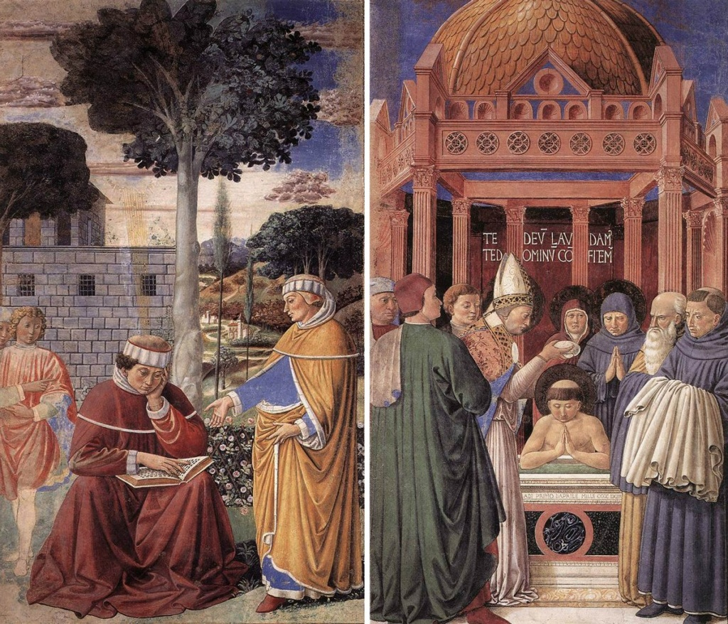 Сан-Джиминьяно, церковь Сант-Агостино. Гоццоли Беноццо. Цикл фресок «Жизнь святого Августина» (1464-1465). Святой Августин читает Послания апостола Павла (сцена 10). Крещение святого Августина (сцена 11, восточная стена).