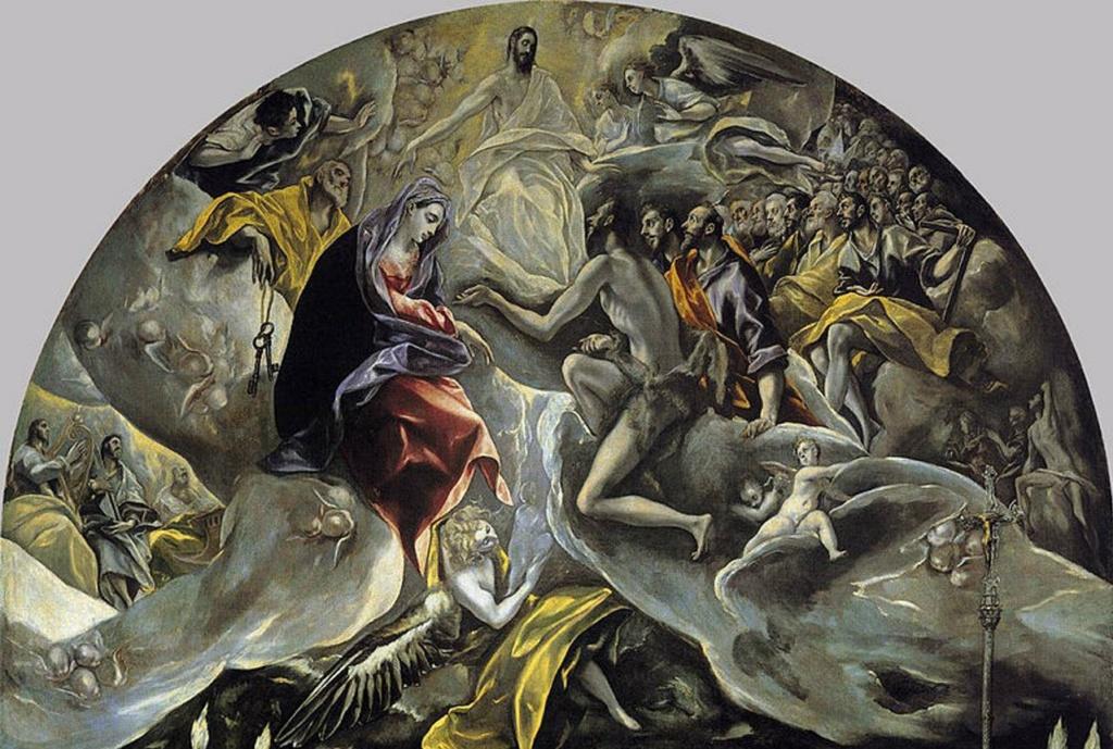Эль Греко. «Погребение графа Оргаса». 1586 - 1588 годы. Тимпан полотна с изображением действия, что происходит уже на небесах, где Иисус вместе с Марией и Иоанном Предтечей принимает душу усопшего. Что будет?