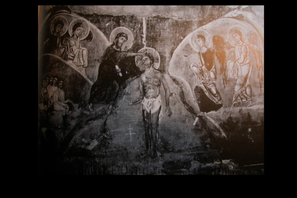 """Фрески Спаса на Нередице. Фотофиксация довоенных лет. """"Крещение Господне"""". 1199. Из всей фрески сохранился левый фрагмент, на котором изображен народ, принимающий крещение на берегу Иордана. Христа, Иоанна Предтечи и Ангелов нет."""