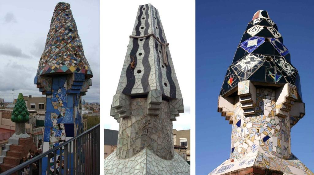 Бальные наряды причудливых башенок на крыше Дворца Гуэль. Обратите внимание на среднюю башенку... Ее наряд строг по цвету. На головном уборе повязана веревка. И ящерка... По дорожке темно серой бежит ящерка. Символ чего?!