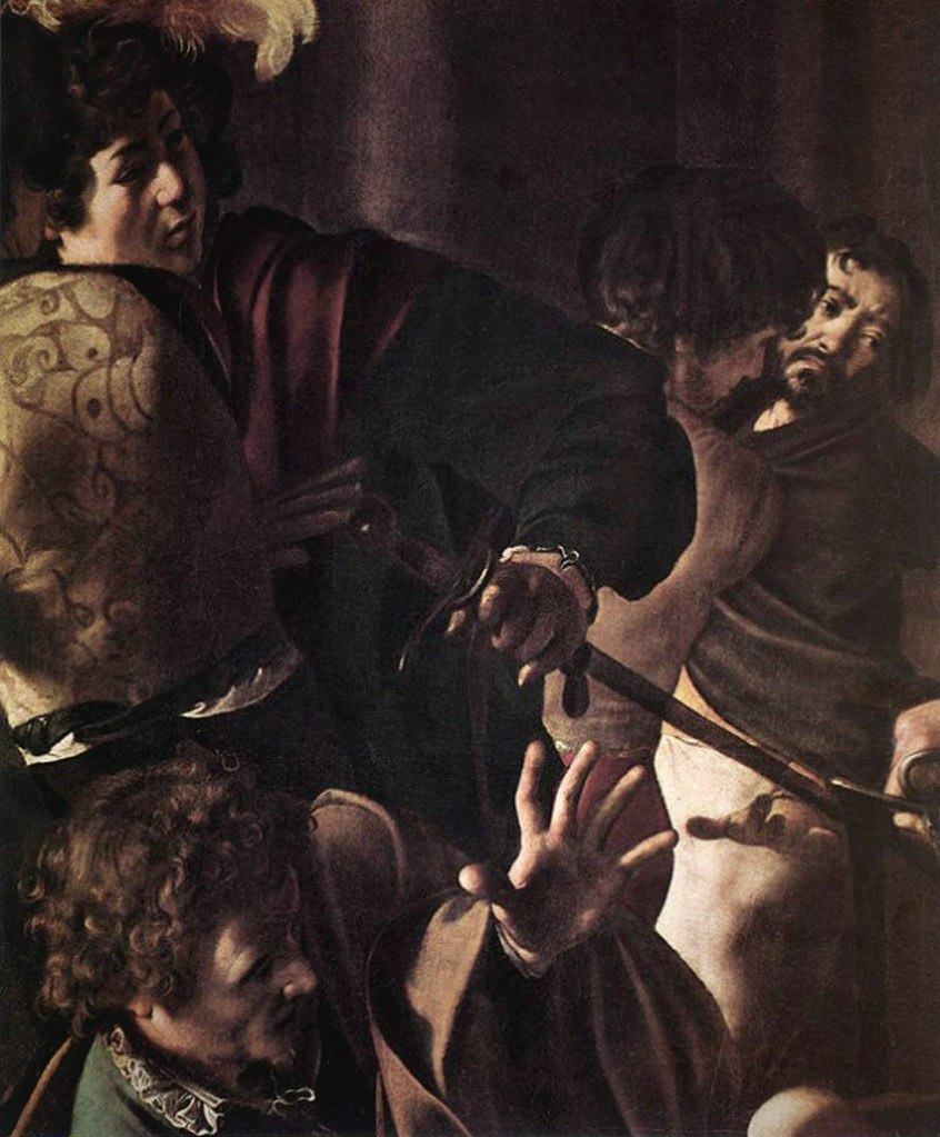 "Караваджо. ""Мученичество апостола Матфея"". 1599-1600. Фрагмент: свидетели с самим созерцающим сцену художником..."