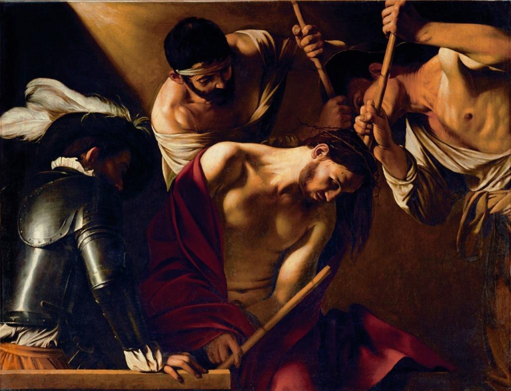 """Караваджо. """"Увенчание Христа терновым венцом"""". 1600-е.  Вена. Музей истории искусств. В руках Иисуса, связанных спереди, - тростниковый скипетр в знак насмехания над Ним как над Царем Иудейским."""