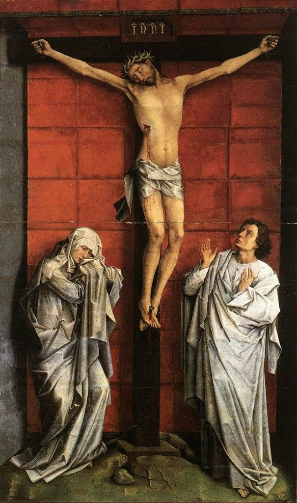 """Рогир ван дер Вейден. """"Распятие с Богоматерью и св. Иоанном"""". 1457. Собрание из монастыря Эскуриал. Мадрид."""
