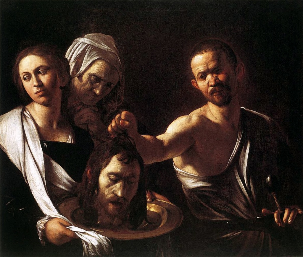 """Караваджо. """"Саломея с головой Иоанна Крестителя"""". 1608. Лондонская национальная галерея. Усекновение головы уже свершилось. Заказчики хотели - получите: Пророк убит. Участники злодеяния демонстрируют ФАКТ СМЕРТИ."""