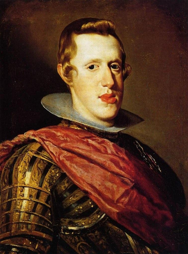 Портрет молодого Филиппа IV кисти Диего Веласкеса. Габсбургские меты на лице очевидны - деградация идет....