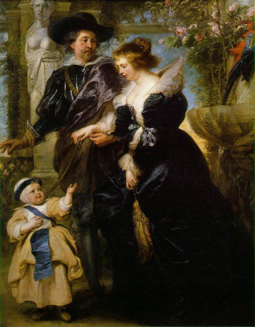 Питер Пауль Рубенс. Автопортрет с Еленой Фоурмен и сыном. Около 1639. Холст, масло. 203,8х158,1 Благодаря яркости колорита и непринужденной естественности фигур это произведение считается одним из шедевров Рубенса.