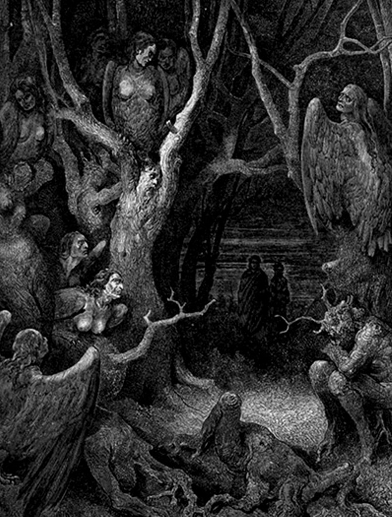 """Гравюры Г. Доре к """"Божественной комедии"""" Данте. (Inferno). 1860-е годы Подивитесь гарпиям, что здесь - в Дантовом аду - сторожат людей, превращенных в деревья."""
