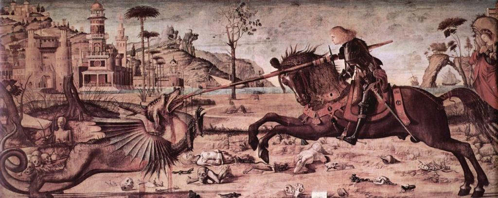 """Витторе Карпаччо. """"Поединок святого Георгия и дракона"""". 1502-1508. Венеция. Scuola di San Giorgio degli Schiavoni. Между этой и той картиной прошло 8-10 лет. Этот - первый - вариант более типичен для Карпаччо."""
