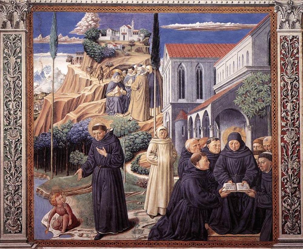 Сан-Джиминьяно, церковь Сант-Агостино. Гоццоли Беноццо. Цикл фресок «Жизнь святого Августина» (1464-1465). Притча о Святой Троице (сцена 12, южная стена).