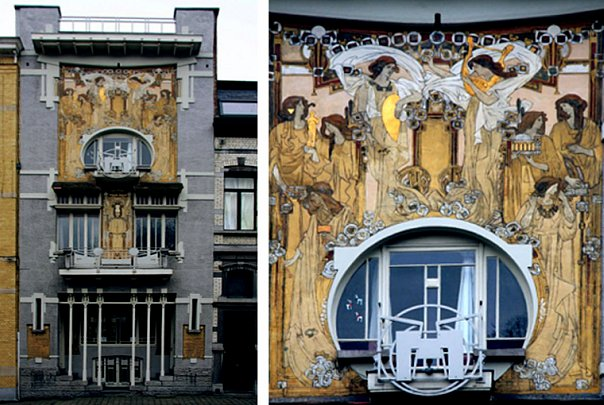 Rue des Francs 5. Особняк La Maison Cauchie, построенный как личная резиденция архитектором, художником и декоратом Paul Cauchie. 1905 год
