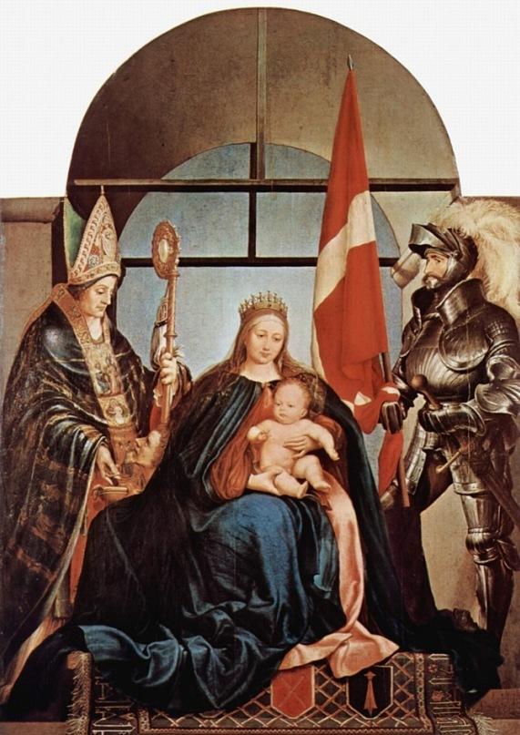 """Ганс Гольбейн Младший. """"Алтарь Герстера, Мадонна на троне"""".  Слева - св Николай Мирликийский, справа - св Урс. 1522.  Золотурн, Музей искусств"""