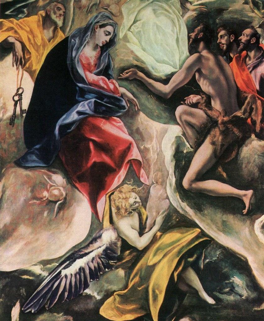 Эль Греко. «Погребение графа Оргаса». 1586 - 1588 годы. Центральный фрагмент тимпана. Богоматерь Мария слева, справа - Иоанн Предтеча, по центру выше - Вседержитель, ниже - Ангел, несущий душу в виде спеленутого младенца на Божий суд...