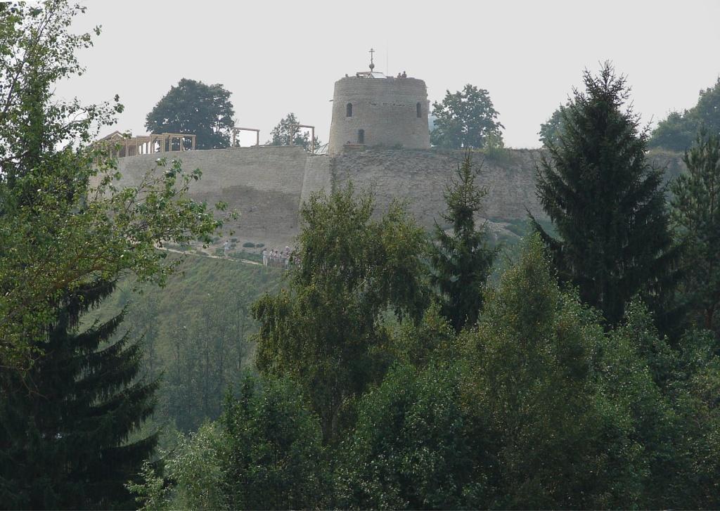 Вид с Изборской котловины на Жеравью гору и крепость