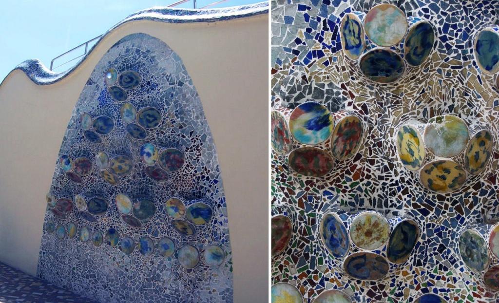 Барселона. Каса Бальо. Антонио Гауди. 1906 год. Мозаичное панно на стене по оси террасы и его фрагмент... Снято нами в марте месяце, когда зелени еще не было.