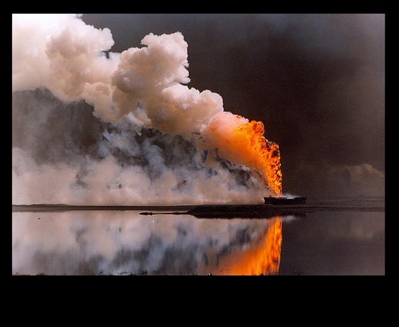 """""""Кажется, что это вода, на самом деле - нефть. Пруды, озера, растекшиеся повсюду. Нефть обманчиво отражает небо. Нефть маскируется под воду. Это озеро, как и все остальные, — черная нефть""""."""