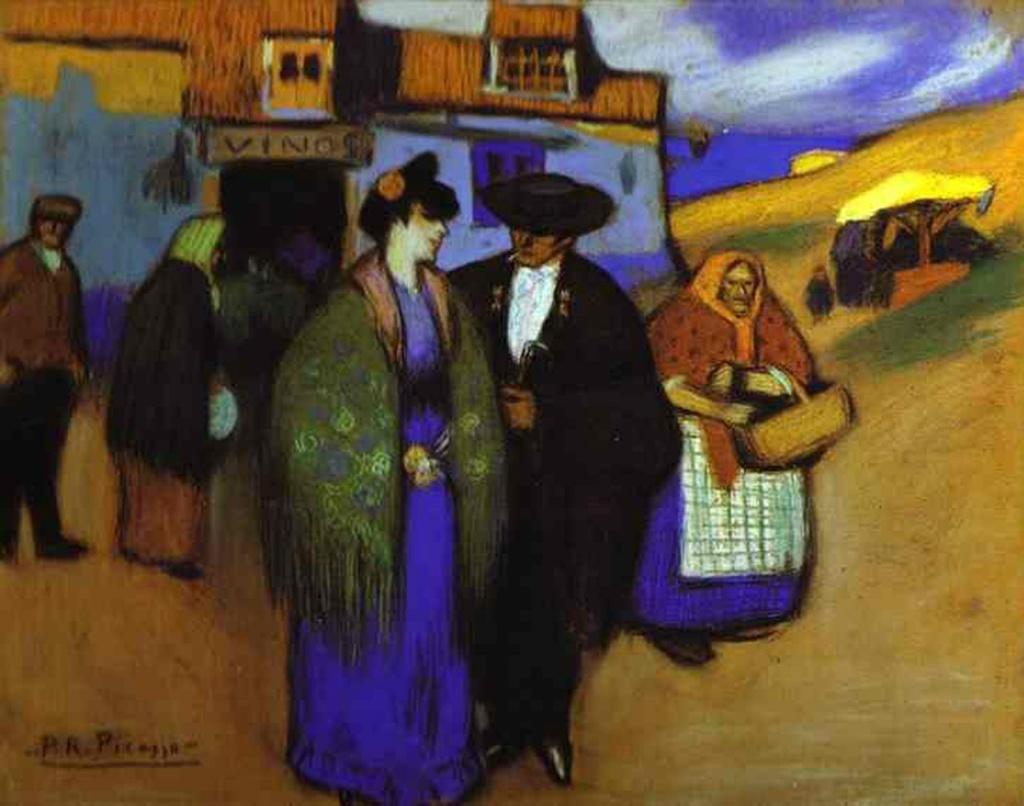 """Пабло Пикассо. """"Испанская пара перед гостиницей"""". 1900. Видевшие работы Пикассо в музеях, говорят о необычной яркости и сочности его красок. Его ранние картины завораживают уже цветом. Изображенный мир прост и несравненен."""