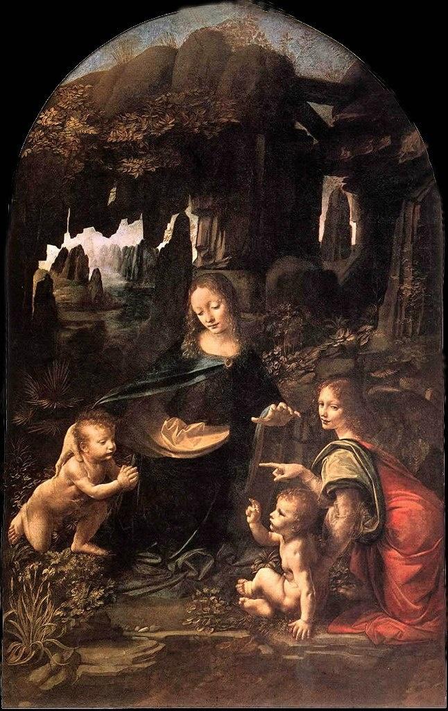 """ЛЕОНАРДО ДА ВИНЧИ. """"Мадонна в скалах (в гроте)"""". 1490 - 1494. Лувр. Париж. Рядом с Мадонной - два младенца: Иисус и Иоанн. Возле младенца справа - один из 4 архангелов, охраняющий Божий трон, по имени Уриэль.. Содержание сцены напряженное."""