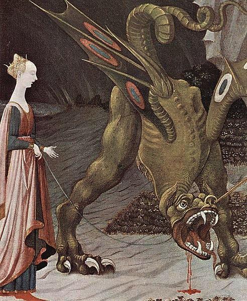 """XV ВЕК. Италия. Флорентийская школа. Паоло Уччелло.  """"Святой Георгий и дракон"""" (фрагмент). 1456. Лондон. Национальная галерея"""