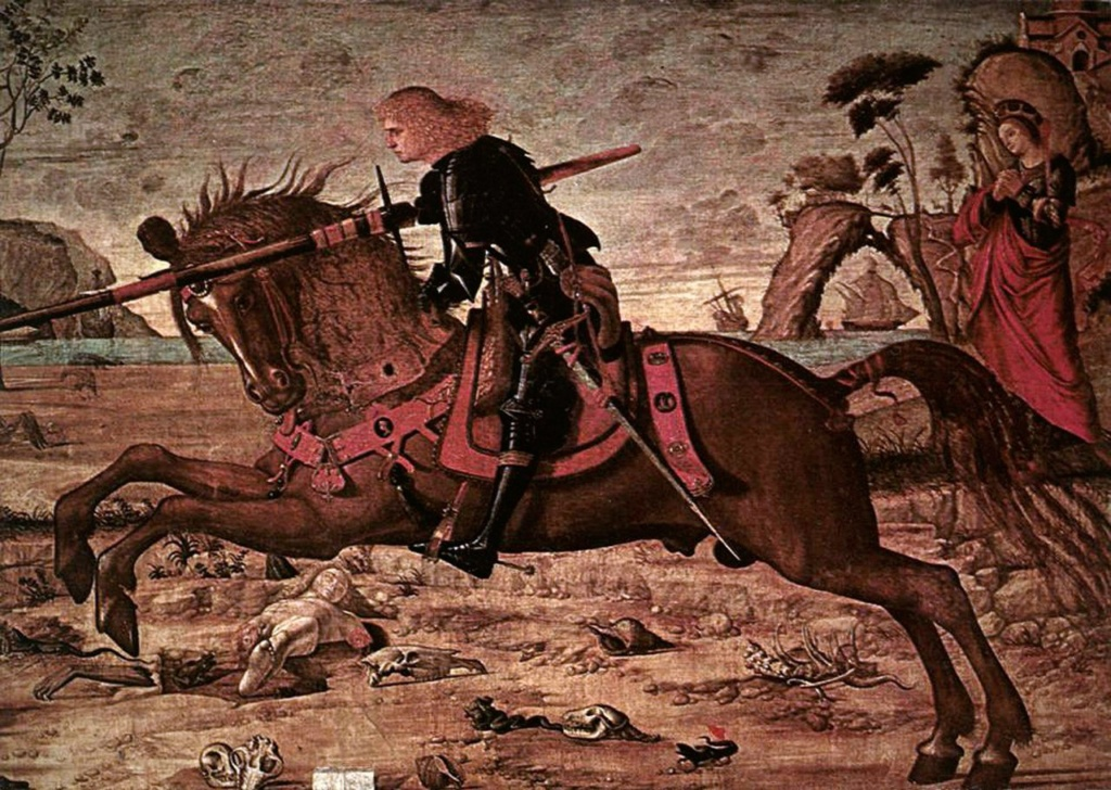 "Витторе Карпаччо. ""Поединок святого Георгия и дракона"". 1502-1508. Венеция. Scuola di San Giorgio degli Schiavoni.."
