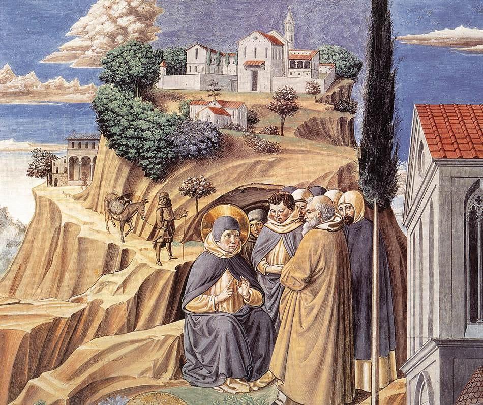 Сан-Джиминьяно, церковь Сант-Агостино. Гоццоли Беноццо. Цикл фресок «Жизнь святого Августина» (1464-1465). Притча о Святой Троице (сцена 12, южная стена). Фрагмент.
