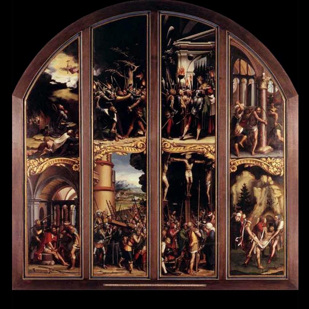 """Ганс Гольбейн Младший. """"Сцены Страстей Христовых"""". 1524 год. Роспись алтаря для Ратуши в Базеле. Для этого алтаря предназначался """"Мертвый Христос""""? Если да, то их сопоставление много объясняет..."""
