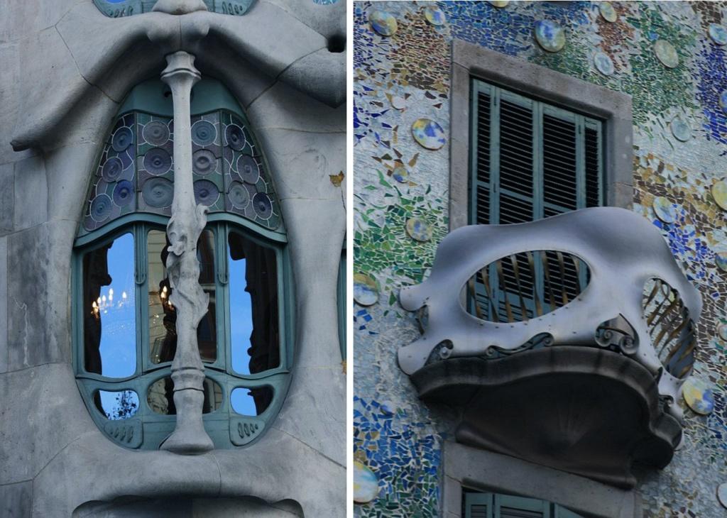 Каса Бальо. Арх. Антонио Гауди. Боковой эркер на втором этаже Дома и рядовые балкончики выше.