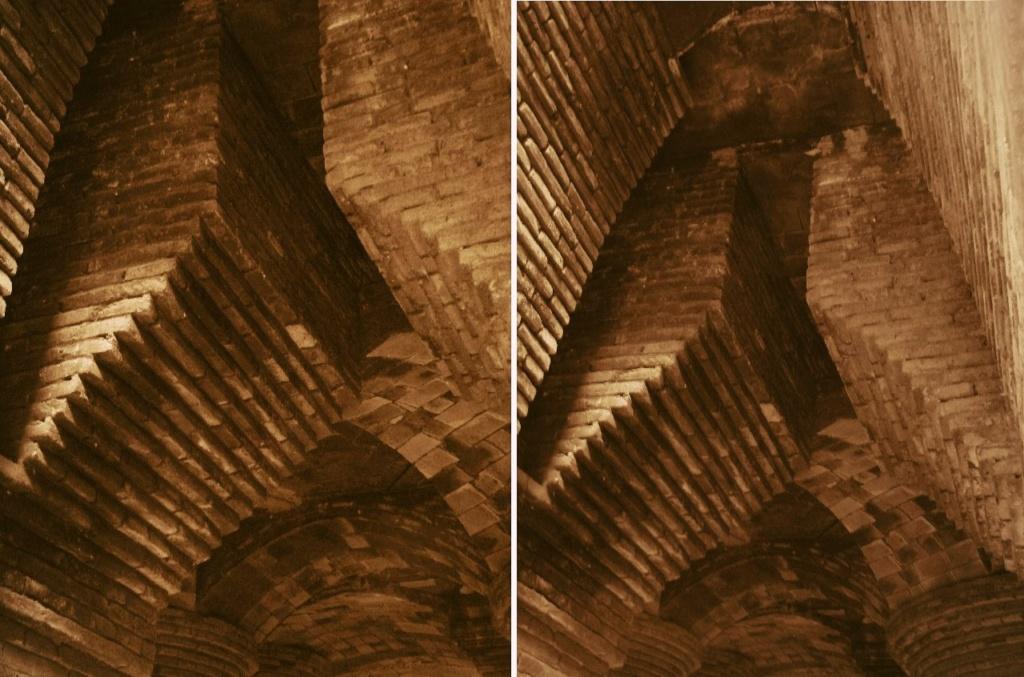 Дворец Гуэля. Подвальный (цокольный) этаж с бывшими конюшнями. Система вентиляционных шахт.