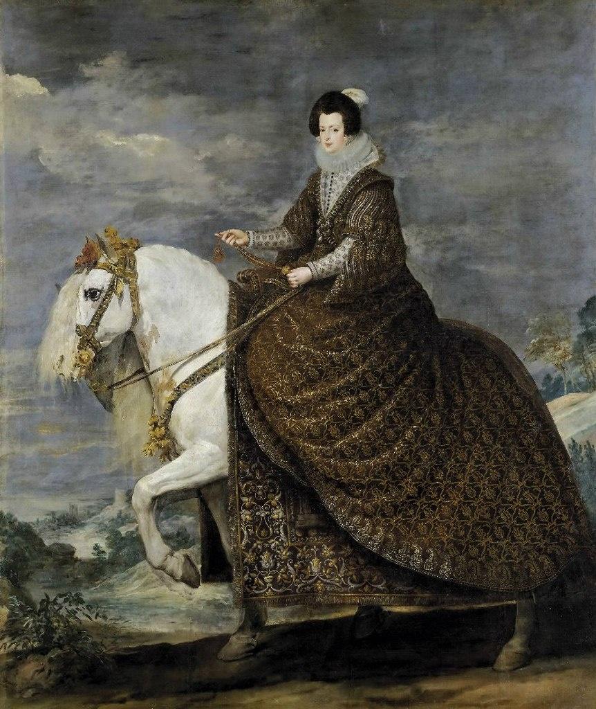 18.10.1615 г. Филипп IV заключает брак с Изабеллой Бурбон (1602-1644), дочерыо Генриха IV Французского. Конный портрет королевы Изабеллы кисти Диего Веласкеса.