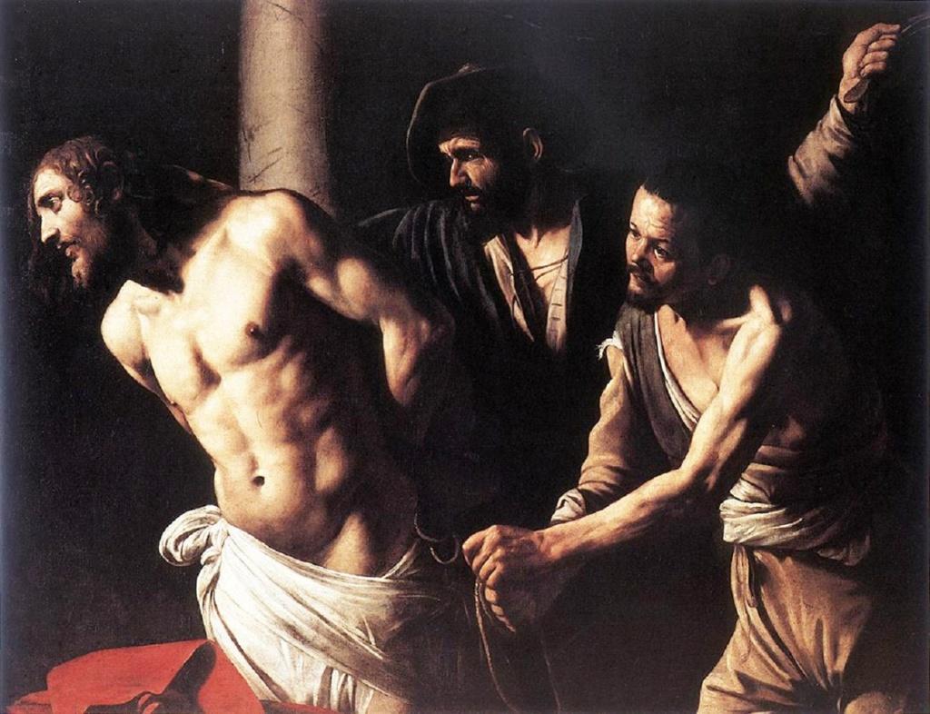 """Караваджо. """"\Бичевание Христа, привязанного к колонне"""". 1606-1607. Музей в Руане. С замечательной анатомической точностью изображен торс Христа - плод наблюдения и понимания натуры, поистине достойный восхищения. Палачи отвратительны."""