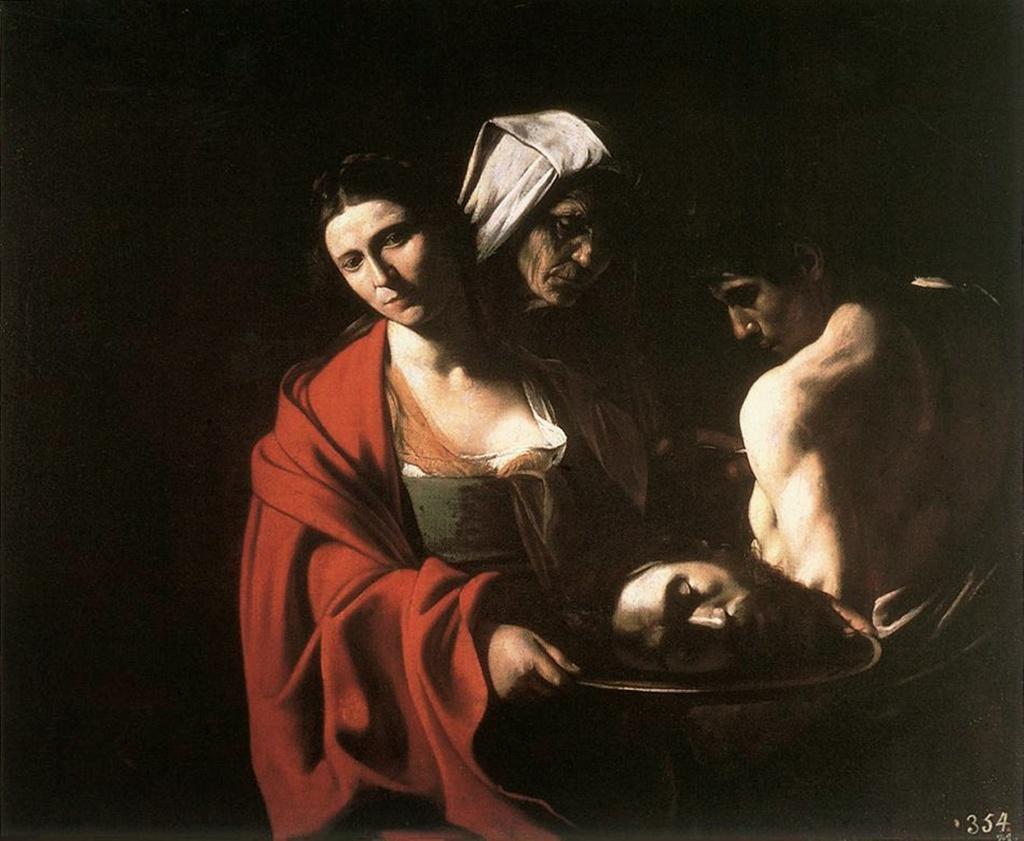 """Караваджо. """"Саломея с головой Иоанна Крестителя"""". 1609. Мадрид, Эскориал. Мрачное изображение ТИШИНЫ, что наступает, когда все свершилось, даже раскаяния никто не проявляет. То - АПОФЕОЗ НАПРЯЖЕННОГО МОЛЧАНИЯ, когда ПРИХОДИТ ВЕЧНОСТЬ."""