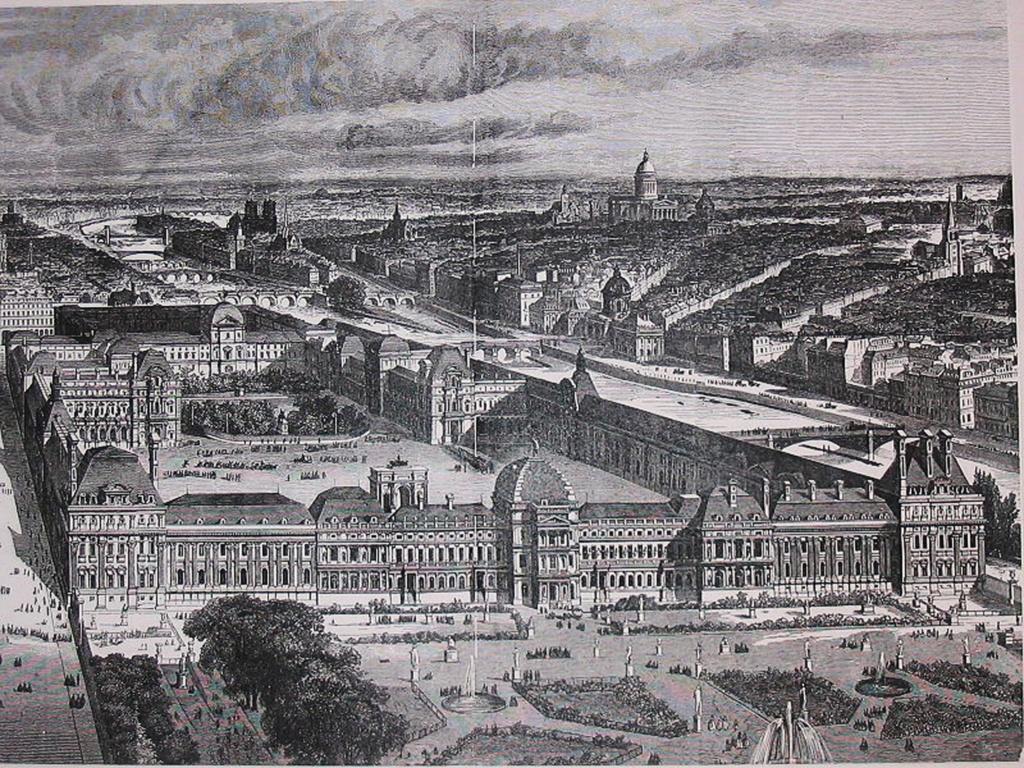 Лувр и Тюильри (на переднем плане) - гравюра 1857 года. Крыло справа (вдоль Сены) построено Генрихом IV. Это - Большая галерея. Крыло слева (вдоль улицы Риволи) построено архитекторами Наполеона I - Персье и Фонтеном.