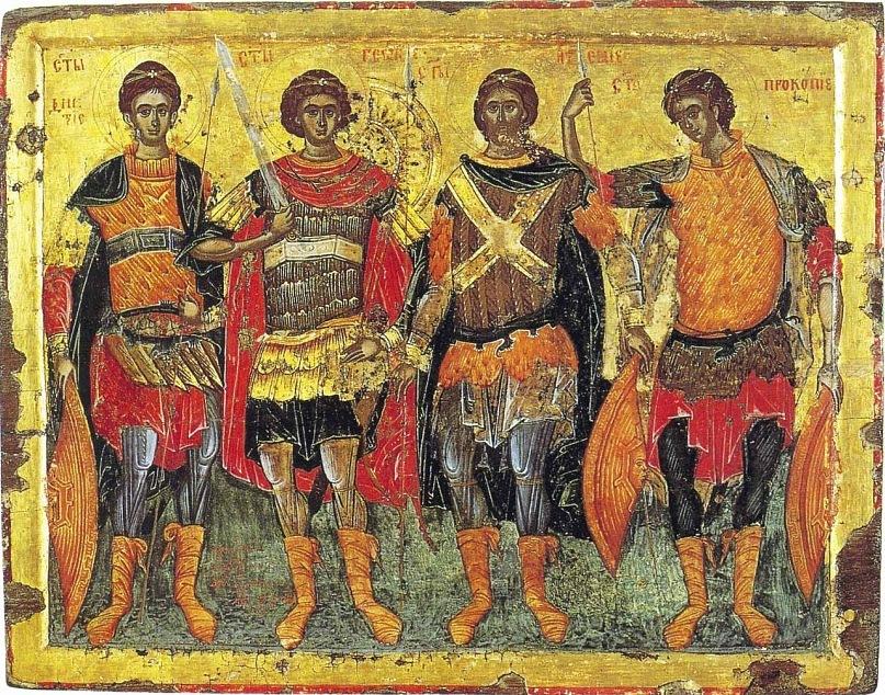 Св. воины Димитрий, Георгий, Артемий и Прокопий. Икона. 1680-1681 гг. (мон-рь Хиландар. Афон)