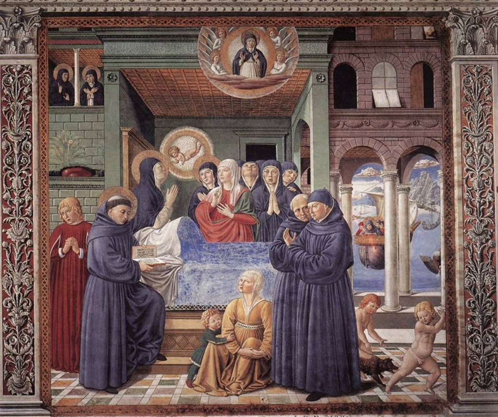 Сан-Джиминьяно, церковь Сант-Агостино. Гоццоли Беноццо. Цикл фресок «Жизнь святого Августина» (1464-1465). Смерть святой Моники (сцена 13, южная стена).