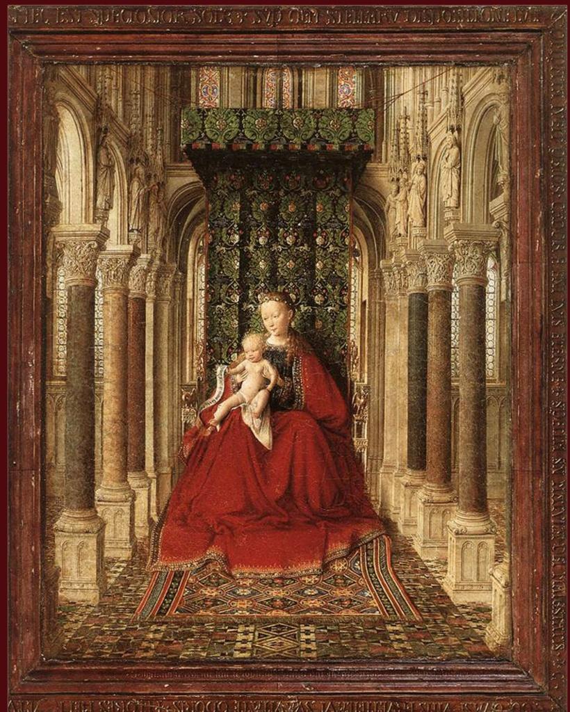 Ян ван Эйк. Триптих «Богоматерь в церкви». 1437. Картинная галерея, Дрезден.