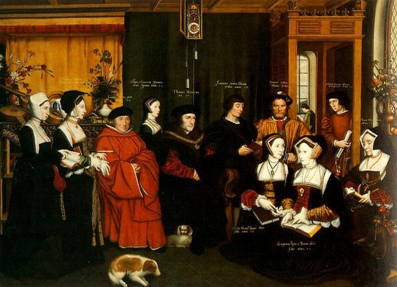 Ганс Гольбейн Младший. Семья Томаса Мора. 1527. У всех дам типичная тюдоровская прическа с чепцом в виде домика со скатной крышей, что полностью закрывает волосы. По ним легко сразу же понять, что портретируемые - из Англии