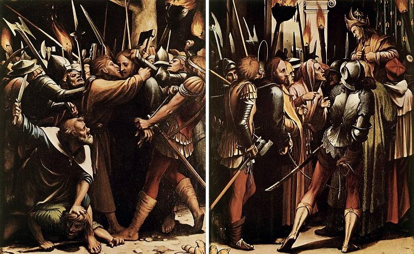 """Ганс Гольбейн Младший. """"Сцены Страстей Христовых"""". 1524 год. Две сцены: """"Поцелуй Иуды"""" и """"Се,человек"""""""