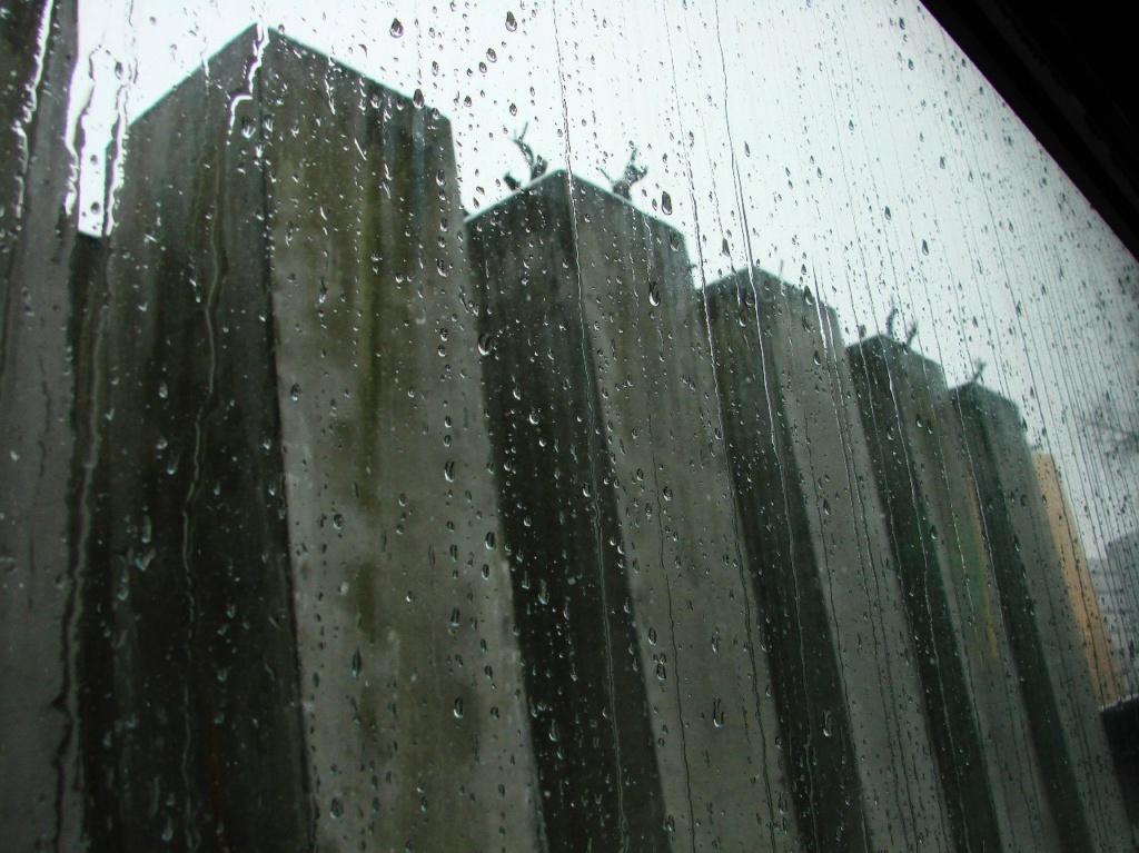 """Берлин. Еврейский музей. """"Сад Изгнания"""" под дождем, слезами текущим по стеклянным стенам... Так было задумано автором? Нет, так распорядился Март, что стоит на дворе..."""
