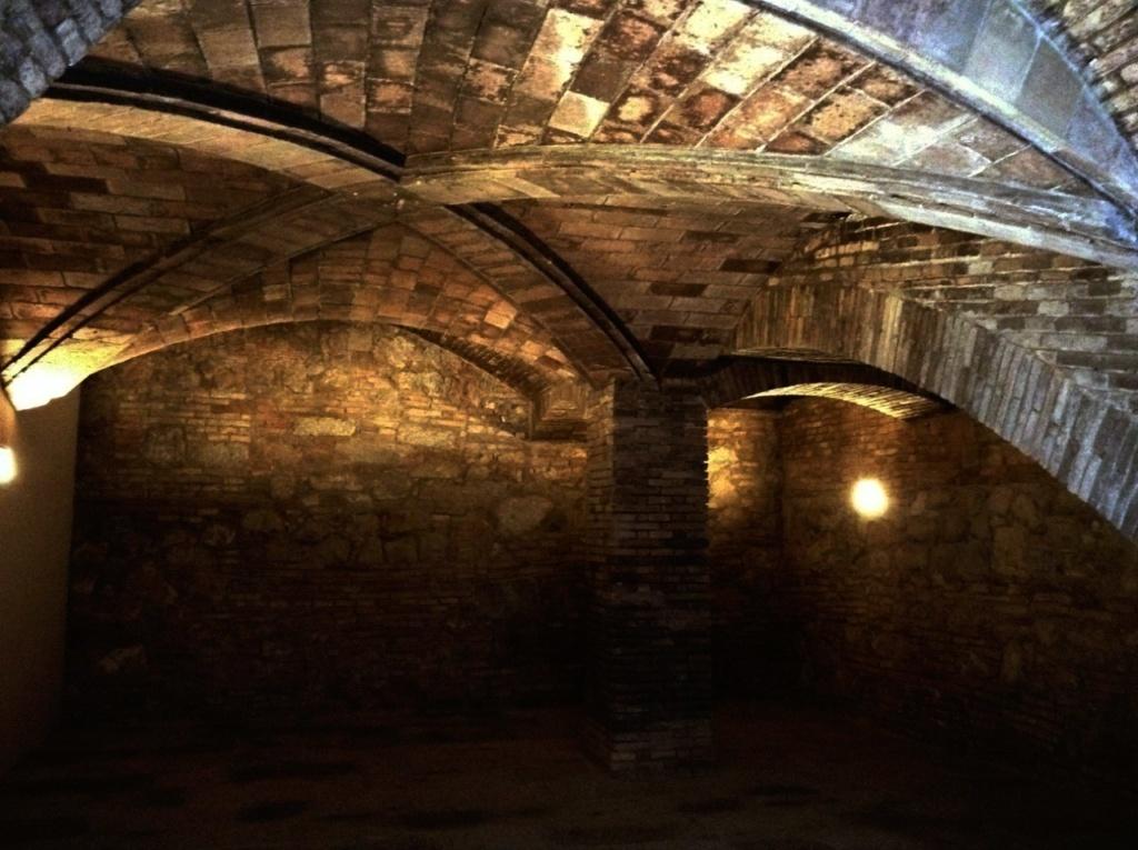 Дворец Гуэля. Подвальный (цокольный) этаж с бывшими конюшнями. Арочно-сводчатые покрытия конюшен.