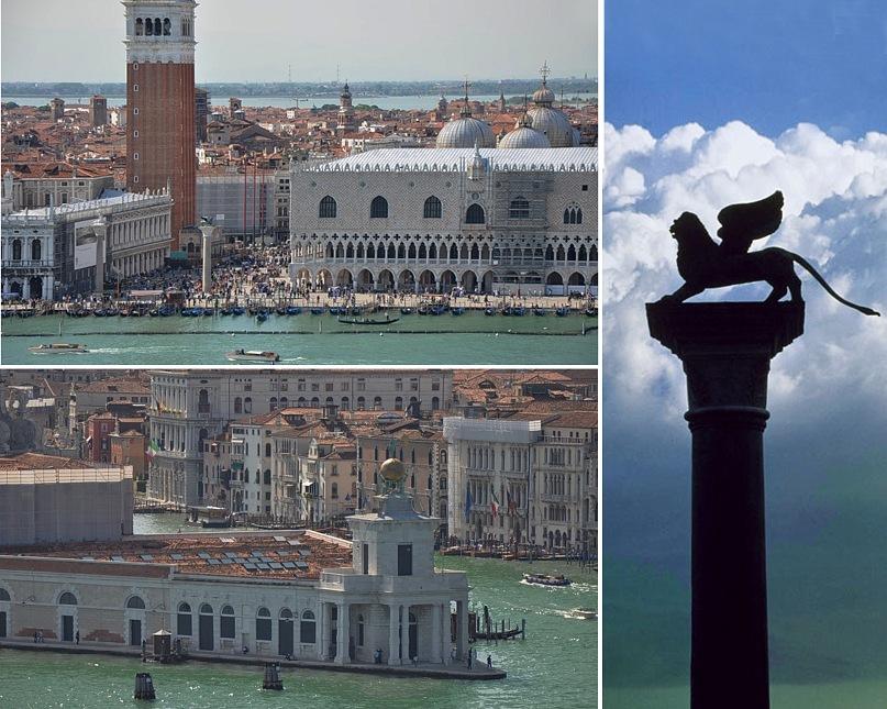 Вверху, слева - Пьяцетта, фланкируемая двумя колоннами: со Св. Теодором и Львом Сан-Марко. Внизу, слева - Таможня на мысу противоположной от Большого канала части города. Справа - сам Лев.