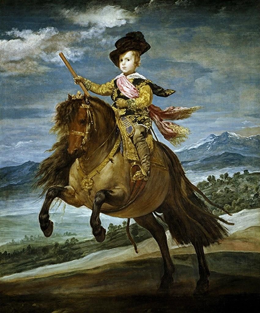 Сын от первого брака (не считая рано умерших) Бальтазар Карлос (1629-1646), принц Астурийский. Конный портрет принца кисти Диего Веласкеса.