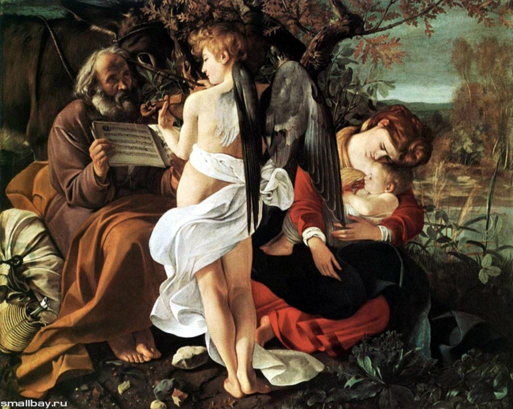 """Караваджо. """"На пути в Египетские земли"""". 1596 - 1597. По цвето-световому решению это - самая мажорная картина художника, в которой художник погружает героев картины  в идиллический пейзаж, отказываясь от """"тенебросо""""."""