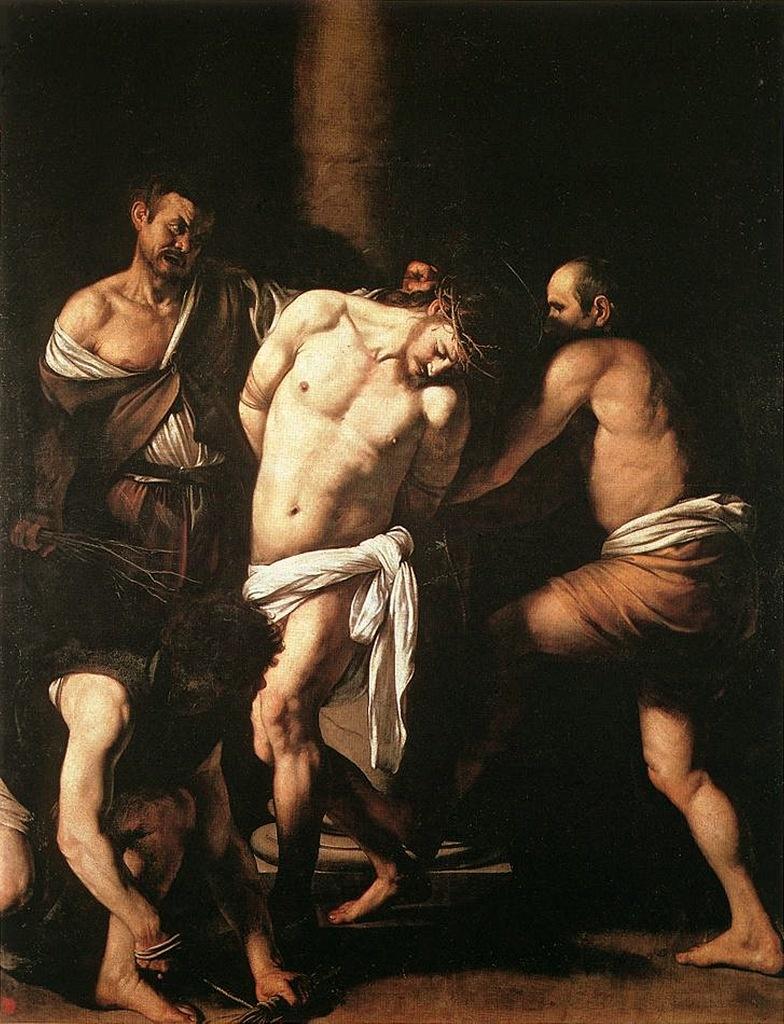 """Караваджо. """"Бичевание Христа"""" . 1606 - 1607. Национальный музей и галерея Каподимонте, Неаполь. Лица палачей, перекошенные звериной злобой, использование мрачного цвета усиливают ощущение ужаса перед тем, что должно произойти..."""