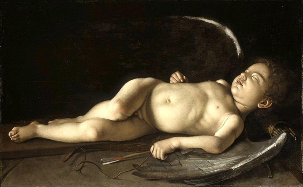 """Караваджо. """"Спящий Купидон"""". 1608. Написан на Мальте. Погружение в сон - символ освобождения от чувственности,  к которому стремились рыцари, дававшие обет целомудрия. Или это - выражение болезненного оцепенения? Нет ответа."""