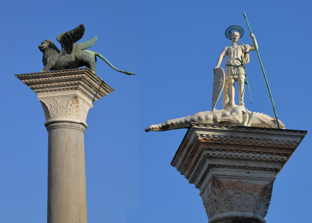 Колонны Святого Марка и Святого Теодора были привезены из Константинополя в 1099 году. На колонне Святого Марка установлена скульптура бронзового льва, на колонне Святого Теодора – одноименная мраморная скульптура.