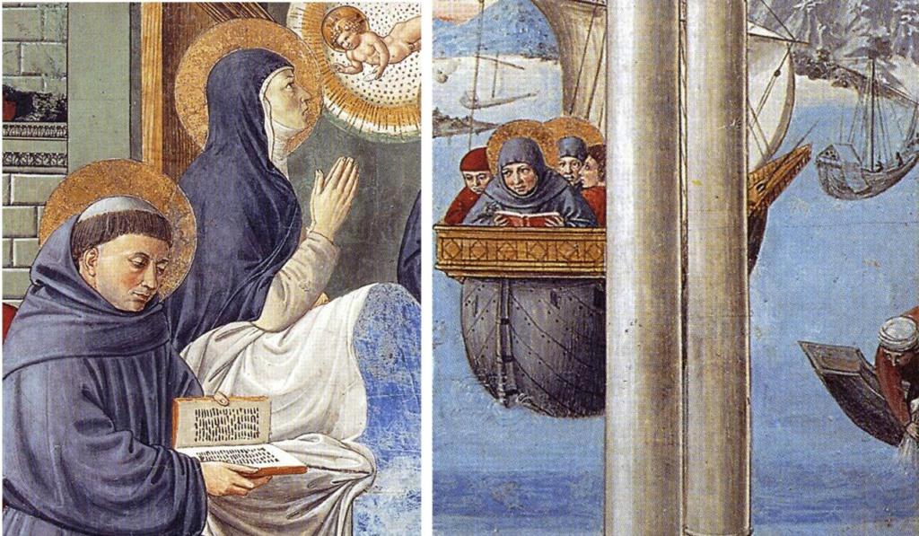 Сан-Джиминьяно, церковь Сант-Агостино. Гоццоли Беноццо. Цикл фресок «Жизнь святого Августина» (1464-1465). Смерть святой Моники (сцена 13, южная стена). Фрагмент.