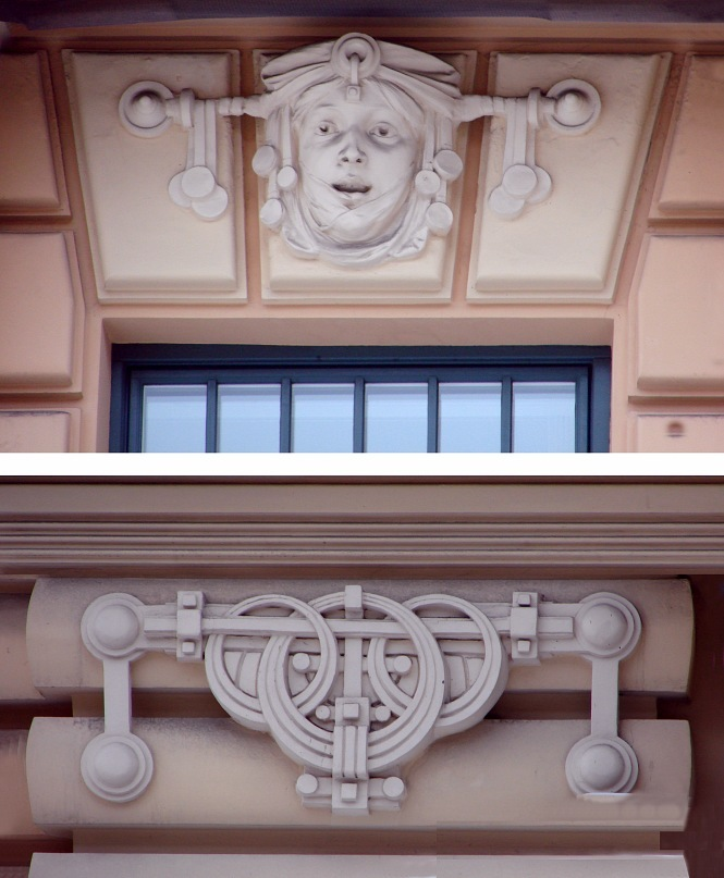 Рига. Доходный дом. Улица Альберта, 13. Арх. М. О. Эйзенштейн. 1904. Декор нижних этажей. Фото Марины Бреслав