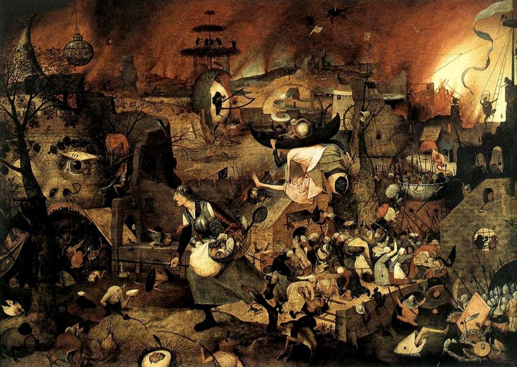"""Питер Брейгель Старший. """"Безумная Грета"""". 1562. Другое название «Сумасшедшая Мэг». То - старуха, готовая ринуться  в адскую пасть (слева) лишь бы насытить свою жадность и алчность. Музей Майер ван дер Берг, Антверпен."""