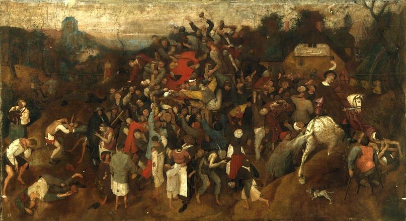 """Питер Брейгель Старший. """"Вино по случаю праздника Святого Мартина"""". 1563-1565. Крестьяне, дети, нищие, воры и пьяницы празднуют прибытие молодого вина. Очень похоже на Вавилонскую башню, только - из людей"""